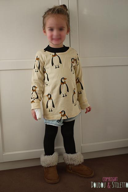 Tee-shirt Mini Rodini, short de Thaïlande, collants et boots Primark
