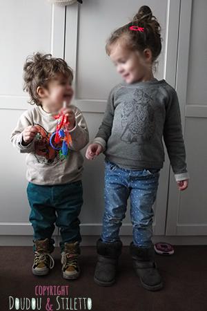 Little S. : sweat H&M, pantalon Zara, baskets Feiyue x Milk on the Rocks Choupette : sweat Paul & Joe, pantalon Zara, bottes fourrées Primark